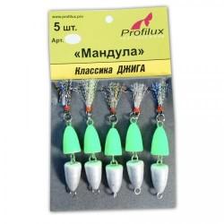 Мандула Profilux Двухсоставная (50мм/3,5г/Серебряно-зелёная) 1упак*5шт