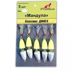 Мандула Profilux Двухсоставная (50мм/3,5г/Серебряно-жёлтая) 1упак*5шт